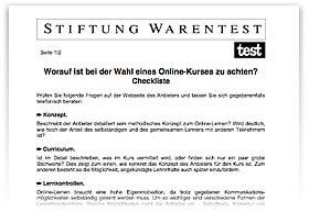 Stiftung Warentest � Checkliste f�r Online-Kurse